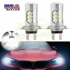 2x H7 6000K Cree LED 12SMD Low Beam Headlight 60W 6000LM High Power Bulb