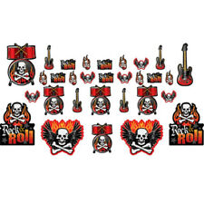 ROCK ON SKULL AND FLAMES CUTOUTS (30) ~ Birthday Party Supplies Decorations Red