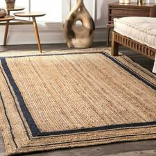 Modern Floor Mats Bohemian Dhurrie Rag Rug Blue Rectangle Jute Area Rugs