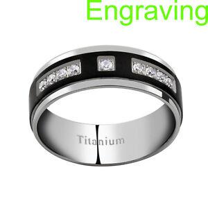 8mm Titanium Black Ion Plate Strip Multi Round Cubic Zirconia Man's Wedding Band