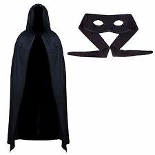 Para Hombre Superhéroe Halloween traje de mascarada valor-Negro Cape & Máscara De Ojo