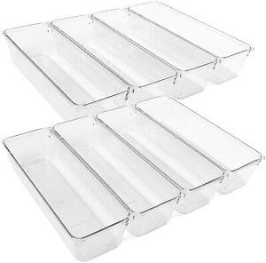 8Pcs Clear Plastic Drawer Organizers Storage Tray for Utensil Silverware Kitchen