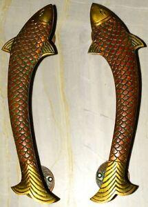 Brass Fish Door Pull Set Entry Gate Handle 11.5'' Inches Nautical Theme EK540