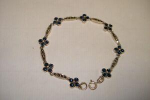 """Vintage Sterling Silver Hematite and Blue Crystal Flower 8"""" Inch Bracelet .925"""