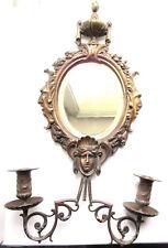Miroir mural Napoléon III à 2 bougeoirs, sculpture bronze personnages antiques