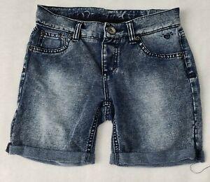 JUSTICE Premium Stretchy Soft Denim Jean Girls Shorts Sz 14 Slim Cuffed Zip