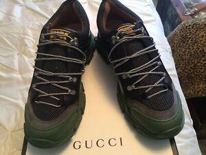 New Authentic  Gucci Men's Flashtrek Canvas & Leather Sneaker G 12.5 US 13.5 W/B
