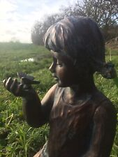 Girl With Butterfly Garden Statue Figurine Bronze Effect Frost Proof