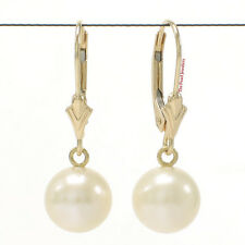 Cultured Freshwater White Pearl Leverback Dangle Earrings 14k Yellow Gold