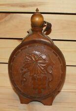 Vintage hand made folk floral carved wood brandy flask bottle