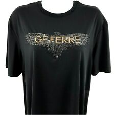 GF FERRE Women's XXL Black Shirt Stretch Spell Out Logo Short Sleeve Top NWT A3