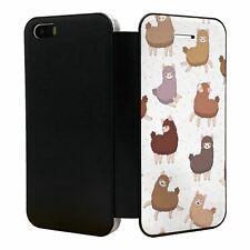 iPhone 5 5S SE Flip Wallet Case Cover Fun Llama Pattern - S5381