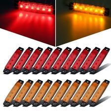 "20x 3.8"" Red/Amber 6LED Side Marker Light indicators Truck Trailer Bus Universal"