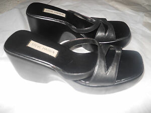 Vintage 90s STEVE MADDEN Women's 9.5M PLATFORM Sandals BLACK Leather