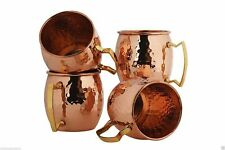 100% Pure Copper Brass Handle Moscow Mule Hammered Mug Handmade Set of 4 Mugs FS
