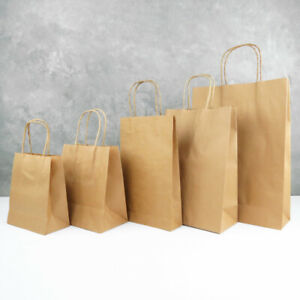 10-200 BROWN PAPER BAGS Bulk 6 Sizes Shopping Bag HANDLE Carry Gift Craft Kraft