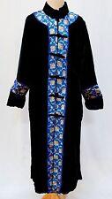 Womens Silk Velvet & Brocade Trim Long Jacket Duster Kimono Robe Black Blue NWT
