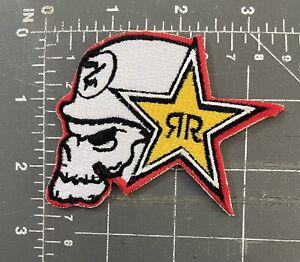 RR Rockstar Energy Drink Logo Patch Skull Biker Helmet Metal Mulisha Clothes M/M