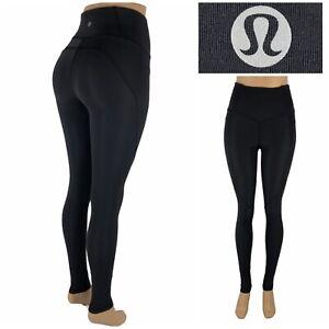 "Lululemon Womens 4 Fine Force High Rise Tight 28"" Black Nylon Lycra Yoga Gym"