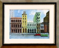 """HAVANA FACADES (CUBA)"" by ALEX ZWARENSTEIN - FRAMED ORIGINAL OIL ON CANVAS MINT"
