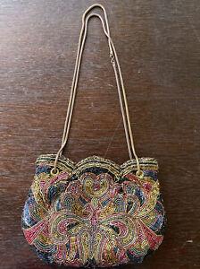 Vintage Beaded Evening Bag Purse Navy Handmade