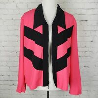 Vintage 80's/90's Color Block Bright Pink Jacket Womens Size Large