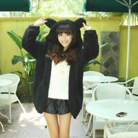 Lady Fleece Hoodies Jacket Coat Cardigan Warm Casual Baggy Fluffy Furry Bear Ear