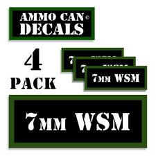 "7MM WSM Ammo Can LABELS STICKERS DECALS for Ammunition Cases 3""x1.15"" 4pack"