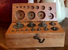 1900's Ace Scientific Supply Co. Brass Weights Wooden Box Scientific Equipment