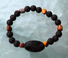 Black Basalt Lava Stone beads & Mookaite Wrist Mala Beads Bracelet - Grounding