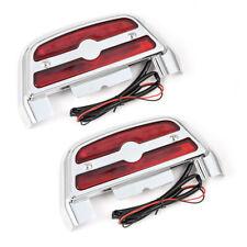 LED Light Passenger Footboard Floorboard Chrome Covers Lens Fit for Harley Dyna