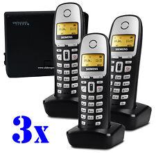 TRIO 3er SET Gigaset Mobilteil+Ladeschale A16h +analog Basisstation DECT Telefon