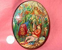 Rusa Laqueado Caja Kholui Pintado a Mano Joyería Fotógrafo Magia Sirin Ave