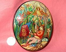 Russian Kholui HAND PAINTED Jewellery LACQUER Box MAGIC PHOTOGRAPHER Sirin Bird