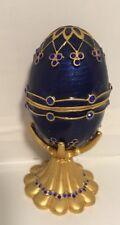 Collect FABERGE Inspired  Egg  And Stand Royal Blue Gold W/ Blue Stones Magnetic