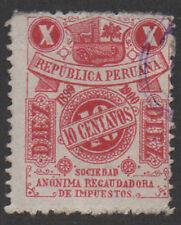 1899-1900, 10c carmine, Peru Fiscal, Revenue, Cinderella.