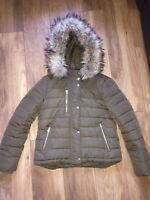 Ladies Size 8 Topshop Khaki Quilted/Padded Jacket Coat Parka Puffa Puffer