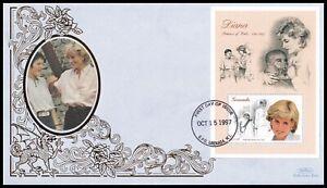 1997 Grenada Diana Princess of Wales in Memoriam Souvenir Sheet Benham FDC