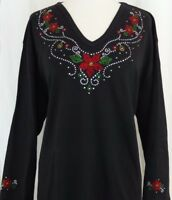 PLUS SIZE 2X Hand Embellished Rhinestone Red Floral Poinsettia Top Shirt