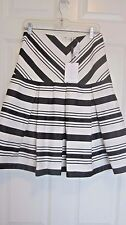 NWT ALEXIS SKIRT MEDIUM BLACK WHITE STRIPES FLARED PLEATED DROP WAIST $310 NEW