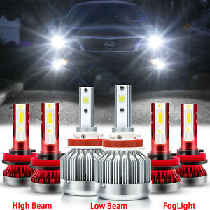 For Nissan Altima 2007-2018 LED Headlight Fog Light Bulbs H9 H11 White Combo Kit