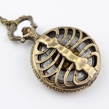 SKELETON RIBCAGE FOB WATCH Pocket Half Hunter Necklace BRASS Steampunk Goth