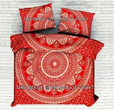 Indian Mandala Quilt Comforter Cotton King Doona Duvet Cover Hippie Bedding Set
