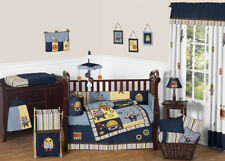 Sweet Jojo Designs Blue & Brown Modern Robot Baby Boy Crib Comforter Bedding Set