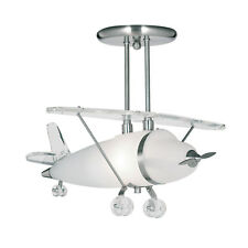 Searchlight 737 Novelty Satin Silver Airplane Pendant Light With Frosted Glass