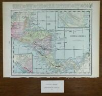 "Vintage 1901 CENTRAL AMERICA Atlas Map 14""x11"" ~ Old Antique Original HONDURAS"