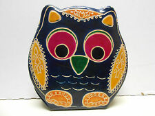 Leather Owl  Piggy Coin Bank India  blue  multi color