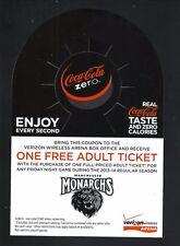 Manchester Monarchs--2013-14 Bottleneck Schedule--Coke Zero--Kings Affiliate