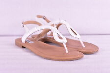 Women's Steve Madden Kary T Strap Sandals w/ Adjustable Ankle Strap, White, 9M