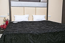 Hand Embroidered Indian Mirror Work Bedspread Decor Banket Throw King Size Quilt